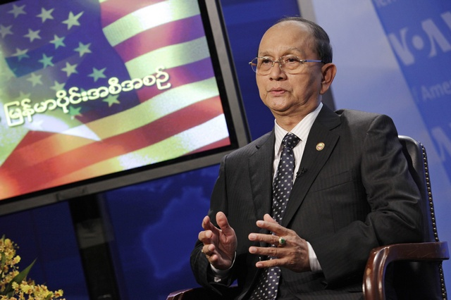President Thein Sein speaks during a town hall event at the Voice of America in Washington on 19 May 2013. (Reuters