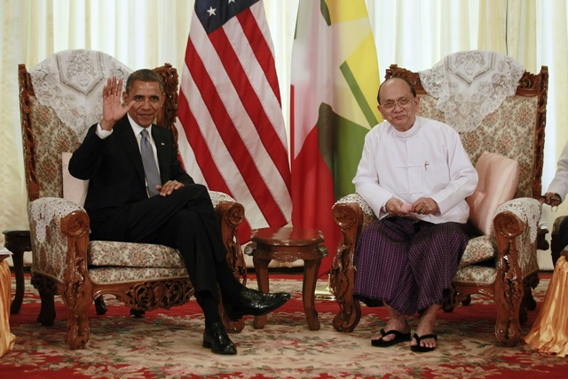 In this file photo, US President Obama waves to the press during his meeting with Burma's President Thein Sein in Rangoon, 2012. (PHOTO: Reuters).