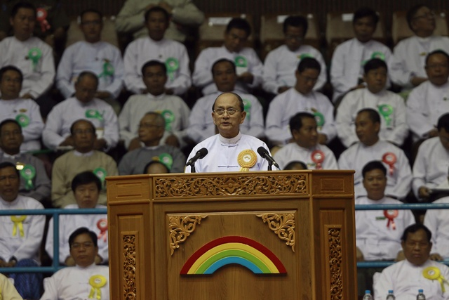 President Thein Sein gives a speech during a launch ceremony for a rural development and social economy improvement program, at a stadium in Rangoon on 2 June 2013. (Reuters)