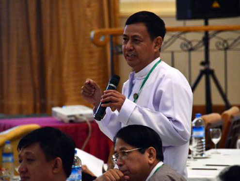 File photo of Ye Htut, Burma's Information Minister and Presidential Spokesperson (PHOTO: DVB)