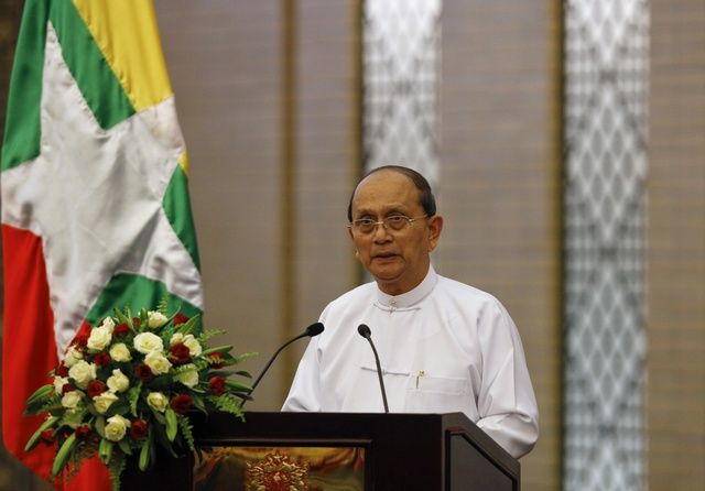 Burmese President Thein Sein speaks before a lunch with Japan's Prime Minister Shinzo Abe in Naypyidaw on 26 May 2013. (PHOTO: Reuters)
