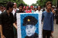 People march through the streets of Rangoon to celebrate Martyrs' Day on 19 July 2013. (DVB)