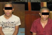A photo of the two suspects posted on Facebook by the Rangoon Police Department.