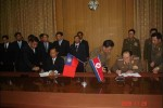 Korean People's Army Chief of General Staff General Kim Gyok Sik and then Burmese army General Shwe Mann sign an agreement during a secret meeting in North Korea in November 2008