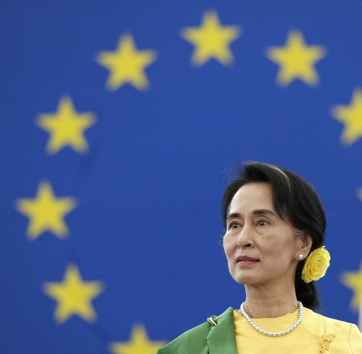 Burma's opposition leader Aung San Suu Kyi pictured on October 22, 2013, at the European Parliament in Strasbourg to receive the Sakharov Human Rights prize she won in 1990. (AFP PHOTO)