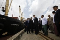 Japan's Prime Minister Shinzo Abe visited the Thilawa port in May 2013. (PHOTO: Reuters)