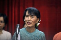 File photo of NLD leader Aung San Suu Kyi at a rally for constitutional reform in Naypyidaw. (PHOTO: AFP)