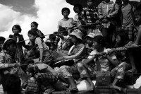 In this file photo from 2013, Kachin IDPs flee Namlim Pa. (PHOTO: Lee Yu Kyung)