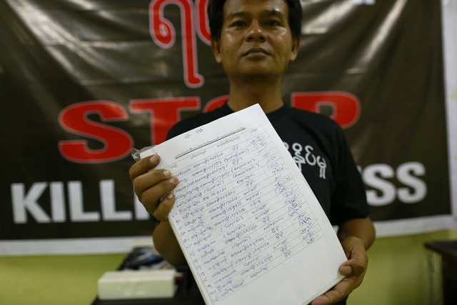 A reporter shows signatures they collected in support of  press freedom at the Myanmar Journalist Network office in Rangoon (Reuters)