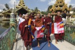 Buddhist monks lead a protest against the opening of an office by the Organisation of Islamic Cooperation. (PHOTO: DVB)
