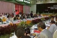 Ethnic leaders meet a Burmese government delegation in Myitkyina on 5 November 2013. (PHOTO: DVB)