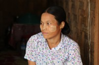 The wife of Brang Yone, pictured in August, anxiously awaits the trial of her husband while sheltering in an IDP camp in Myitkyina. (PHOTO: Seamus Martov)