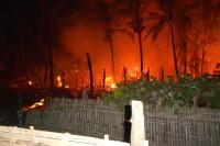 The blaze on Tuesday night in Duchira Dan, Maungdaw Township, left at least 16 Rohingya homes razed, although no one was reported injured. (PHOTO: DVB)