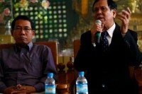 File photo of Aye Maung and Aye Thar Aung, speaking at an Arakan National Party function. (PHOTO: DVB)