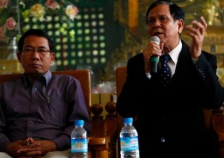 File photo of Aye Maung (l) and Aye Thar Aung (r), pictured here speaking at an Arakan National Party function. (PHOTO:DVB)