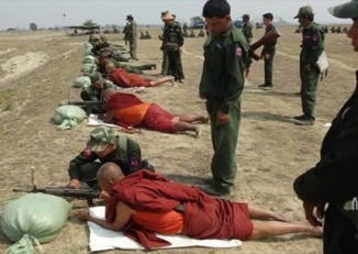 Burma Army soldiers conduct military training in Talawgyi, Kachin State. (PHOTO: source unknown)