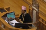 Burma's parliamentary Speaker Shwe Mann addressing both houses on Thursday, 27 February 2014. (PHOTO: DVB)