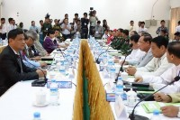 File photo of the Nationwide Ceasefire Coordination Team meeting with government negotiators in Rangoon. (PHOTO: DVB)