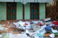 The aftermath of the riot at an international NGO office on Thursday. (PHOTO: April Maung Maung)