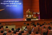 Burma's President Thein Sein addressed citizens, politicians and ethnic representatives about the upcoming census. Naypyidaw, 1 March 2014. (PHOTO: DVB)