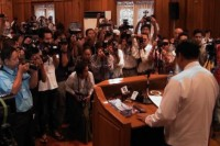 Burma's Immigration Minister, Khin Yi, addressing the press in Rangoon on 7 May 2014. (DVB)