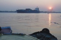 A cargo ship entering Rangoon port in February 2014 (PHOTO: Colin Hinshelwood/DVB)