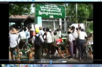 Trishaw riders take to the streets of Prome [Pyay] on Thursday, 29 May 2014. (PHOTO: DVB TV)