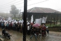 Women's rights protestors take to the streets of Rezua, Matupi Township, Chin State on Monday, 23 June 2014. (Photo courtesy of Chinland Guardian)