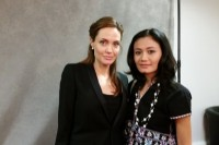 Author Wahku Shee of the Women's League of Burma, pictured with US actress Angelina Jolie, the co-chair of the Global Summit to End Sexual Violence in Conflict, held in London this week. (BCUK)