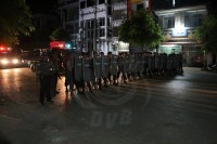 Riot police retake control of the streets in Mandalay on Wednesday morning following an anti-Muslim riot. (PHOTO: DVB)