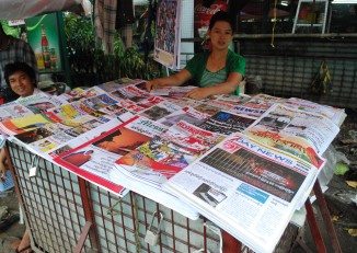 File photo of a newspaper stand in Burma (PHOTO: Feliz Solomon)