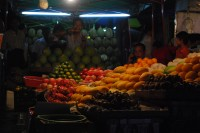A variety of fruits on sale at a night market in Rangoon, July 2014. (PHOTO: Feliz Solomon/DVB)