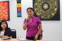 Women's League of Burma general-secretary Tin Tin Nyo calls for political support to amend the Burmese Constitution to put laws in place to protect women and children from abuse. (PHOTO: DVB)