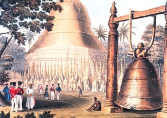 Illustration of the legendary Dhammazedi Bell, which is believed to be on the floor of the confluence of the Pegu and Rangoon rivers (IMAGE: Wikimedia Commons)