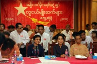 NLD chairperson Aung San Suu Kyi (2nd right) sits with party members at the NLD youth conference on Saturday, 30 August 2014. (PHOTO: DVB)