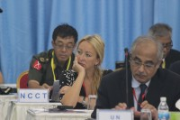 UN Secretary-General's Special Advisor to Burma Vijay Nambiar (foreground), is pictured at ceasefire talks in Rangoon on 18 August 2014. His assistant, Miss Marian, and KIO Deputy Chief of Staff Gen Gun Maw sit behind him. (PHOTO: DVB)
