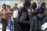 Farmers from Aungon village are confronted by the Pegu police, during a protest in February 2014 (PHOTO:DVB)
