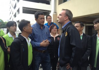 British activist Andy Hall appeared in a Thai court on 2 September to face defamation charges based on his research about Burmese migrant labour. He could serve more than seven years in jail if convicted. (PHOTO: Feliz Solomon/DVB)