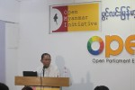 Open Myanmar Initiative adviser Ko Ko Gyi addresses an audience in Rangoon. (PHOTO: OMI)