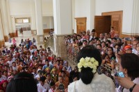 Burma's opposition leader Aung San Suu Kyi addresses a Karen delegation in Naypyidaw on Thursday, 18 September 2014. (PHOTO: DVB)