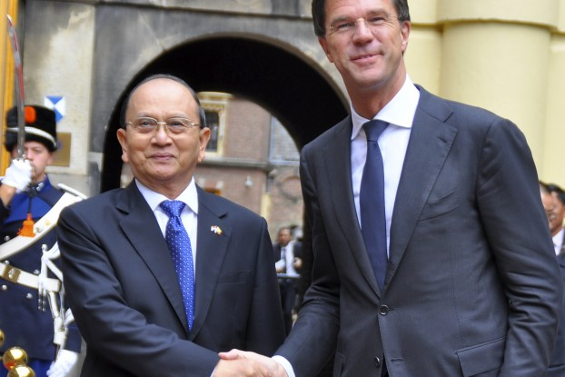 Burmese President Thein Sein is welcomed by Dutch Prime Minister Mark Rutte in The Hague on 9 September 2014.(PHOTO: Ole Chavannes)
