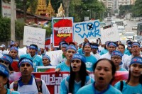 Marchers take to the streets of Rangoon on 21 September to mark International Peace Day. (PHOTO: DVB)