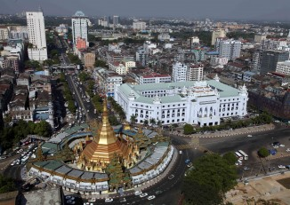 Aerial view of downtown Rangoon, with Sule Pagoda and the city's Town Hall seen in the foreground. (PHOTO: DVB)