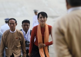 File photo of Aung San Suu Kyi arriving at Burma's lower house of parliament (PHOTO: Reuters)