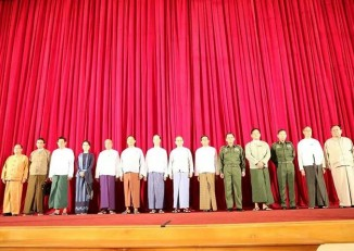 Representatives pose for a photo at today's quadripartite talks held in Naypyidaw (PHOTO: DVB)