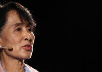 Aung San Suu Kyi called for a referendum on voting systems during a parliamentary debate today (Photo: Reuters)