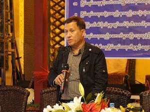 Brig-Gen Timothy Laklem at a press conference in Rangoon in February 2014. (PHOTO:DVB)