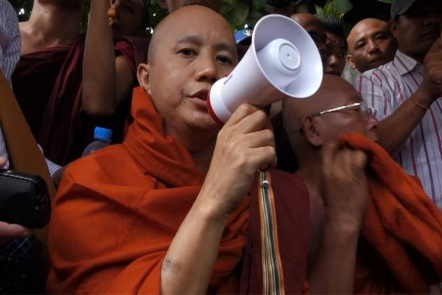 File photo of Wirathu, head of the Association for the Protection of Race and Religion, commonly known by its Burmese acronym Ma-Ba-Tha. (PHOTO: DVB)