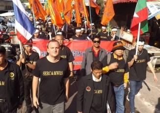 Migrant rights researcher and activist Andy Hall is pictured with the Migrant Workers Rights Network in Thailand. (PHOTO provided by Andy Hall)