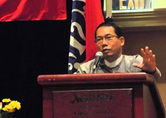 Dr Aye Maung, pictured at the Arakan conference in 2013. (PHOTO:DVB)